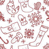Christmas seamless pattern. Hand drawn Christmas seamless pattern with bird, socks, snowflakes, etc Royalty Free Stock Photos