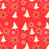 Christmas seamless pattern. With stars on red Stock Photos