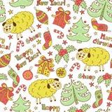 Christmas seamless pattern with animals sheep Stock Photos