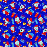 Christmas seamless pattern. Background with cute Santa Claus and Stock Photo
