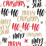 Christmas seamless pattern. Background with hand drawn lettering. Vector design illustration.  Royalty Free Stock Photo
