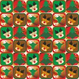 Rendier and Christmas tree seamless pattern  Stock Photo