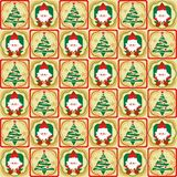 Santa and Christmas tree seamless pattern Stock Images