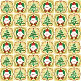 Santa and Christmas tree seamless patterns  Royalty Free Stock Images