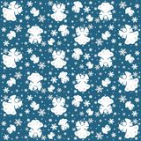 Snowflakes and angels seamless pattern - vector Royalty Free Stock Photo