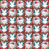 Angels and snowman seamless pattern Royalty Free Stock Photography