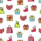 Christmas Pattern with Bags Vector Illustration. Christmas seamless pattern with bags and presents with bows made of ribbons, red sock, packages with snowflake Royalty Free Stock Photography