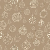 Christmas seamless pattern with balls. Vector Christmas seamless pattern with balls and Christmas trees Royalty Free Stock Images