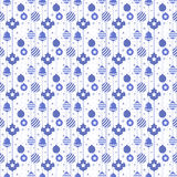 Christmas seamless pattern with balls in blue color Stock Photos
