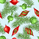 Christmas seamless pattern with balls. Holiday vintage decorations for tree. Greeting celebration background Royalty Free Illustration