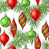 Christmas seamless pattern with balls. Holiday vintage decorations for tree. Greeting celebration background Vector Illustration