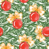 Christmas seamless pattern with balls and fir branches. New year seamless pattern with balls and fir branches. Watercolor painting. Christmas background Royalty Free Stock Photo