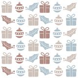 Christmas seamless pattern with balls, gifts and mistletoe stock illustration