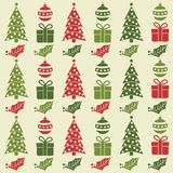 Christmas seamless pattern with balls, Christmas trees, gifts a royalty free illustration