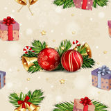 Christmas seamless pattern. With Christmas baubles and gift boxes Royalty Free Stock Photos
