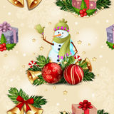 Christmas seamless pattern. With Christmas baubles and snowman Royalty Free Stock Photo