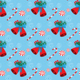 Christmas seamless pattern with bells and candies Royalty Free Stock Photography