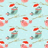 Christmas seamless pattern with cute birds Stock Image