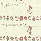 Christmas seamless pattern with birds, socks mitte Royalty Free Stock Photo