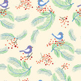 Christmas seamless pattern with birds and trees Stock Image