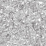 Christmas seamless pattern in black and white Stock Image