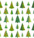 Christmas seamless pattern with blue trees and decorations. Cart royalty free illustration