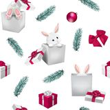 Christmas seamless pattern with bunny stock photo
