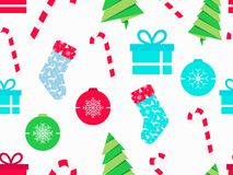 Christmas seamless pattern with candy canes, christmas socks, gift boxes and fir tree. Symbols of christmas on white background. Vector illustration stock illustration