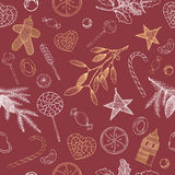 Christmas seamless pattern with candy, pine. Bright Christmas seamless pattern with hand drawn candy, pine branches, mistletoe and holiday decorations. Great for Royalty Free Stock Photos
