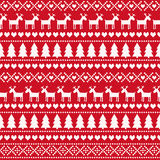 Christmas seamless pattern, card - Scandinavian sweater style. stock illustration