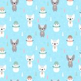 Christmas seamless pattern with cartoon bear and snowman. Holidays background for baby clothes. Christmas and New Year design. Vector illustration royalty free illustration