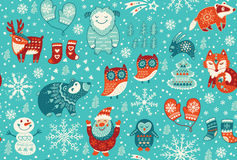 Christmas seamless pattern. Cartoon christmas seamless pattern with santa, fox, deer, yeti, cute owl and other elements. Seamless pattern can be used for Stock Image