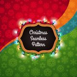 Christmas Seamless Pattern with a Chalkboard Decorated with Ligh Stock Image