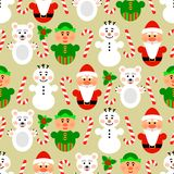 Christmas seamless pattern with characters, beige Royalty Free Stock Photos