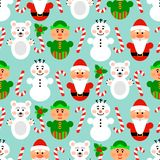 Christmas seamless pattern with characters, blue. Christmas seamless pattern background with snowman, santa, polar bear and lollipop, blue Royalty Free Stock Photo