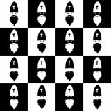 Christmas seamless pattern on chessboard background. New Year wallpaper. Winter black and white wrapping with Saint Nicholas. Royalty Free Stock Photo