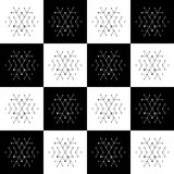 Christmas seamless pattern on chessboard background. New Year wallpaper. Winter black and white wrapping with snowflakes. Stock Image