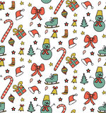 Christmas seamless pattern. Christmas background, doodle style. Vector illustration Stock Photo