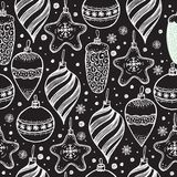Christmas seamless pattern with christmas elements. Christmas seamless pattern with christmas elements on black Stock Images