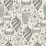 Christmas seamless pattern with christmas elements. Christmas seamless pattern with christmas elements on grey Royalty Free Stock Photo