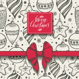 Christmas seamless pattern with christmas elements and red bow. Christmas seamless seasons pattern with christmas elements and red bow Royalty Free Stock Photos