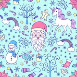 Christmas seamless pattern. With festive elements on blue background.Vector illustration Royalty Free Stock Photography