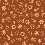 Christmas seamless pattern. With holiday inscriptions and elements on chocolate background Royalty Free Stock Images