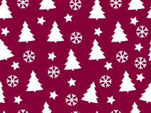 Christmas seamless pattern with Christmas trees, snowflakes and stars. Vector illustration Royalty Free Stock Images