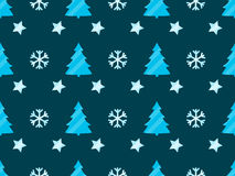 Christmas seamless pattern with Christmas trees, snowflakes and stars. Vector illustration Royalty Free Stock Photos