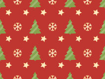 Christmas seamless pattern with Christmas trees, snowflakes and stars. Vector illustration Stock Photos