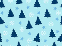 Christmas seamless pattern with Christmas trees, snowflakes and stars. Stock Photos