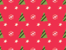 Christmas seamless pattern with Christmas trees, snowflakes and stars. Vector. Illustration Royalty Free Stock Images