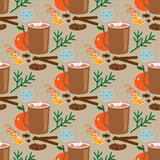 Christmas seamless pattern with cocoa, orange and cookie Royalty Free Stock Photography