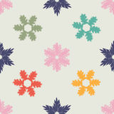 Christmas Seamless Pattern with colorful hand drawn snowflakes. Royalty Free Stock Photography